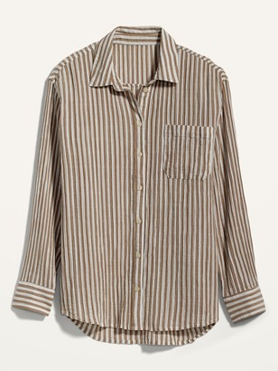 Old Navy Oversized Boyfriend Striped Crinkle-Textured Shirt for Women
