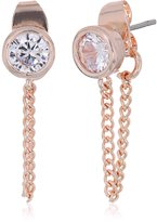 Jessica Simpson Cubic Zirconia Front To Back Gold Earrings