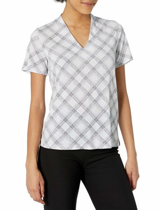 Jones New York Women's Short Sleeve V Neck Printed Top