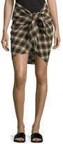 Isabel Marant Placid Plaid Flannel Knot-Front Skirt