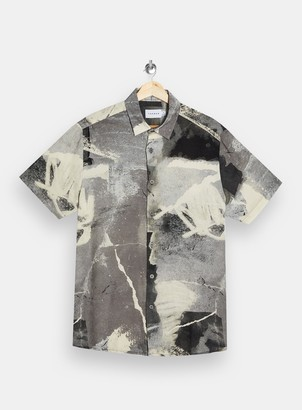 Topman Concrete Gray Print Short Sleeve Shirt