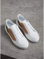 Burberry Check Detail Leather Trainers , Size: 37, White