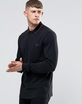 Fred Perry Polo Shirt With Long Sleeves In Black