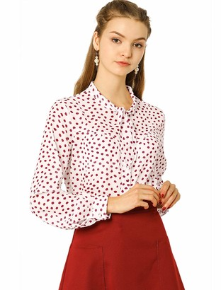 Allegra K Women's Polka Dots Button Down Long Sleeve Shirt Self Tie Neck Vintage Blouses S Red