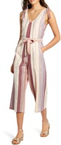 Angie Stripe Belted Wide Leg Crop Jumpsuit