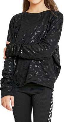 Terez Girl's Foiled Cheetah-Print Crewneck Sweatshirt, Size 7-14