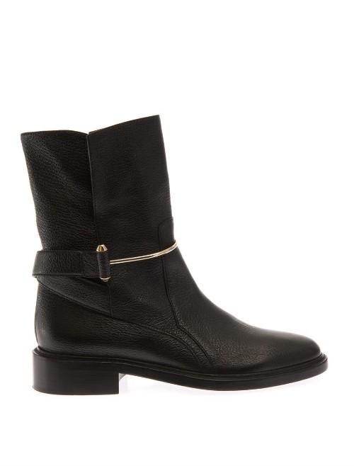 Balenciaga Metal bar leather ankle boots