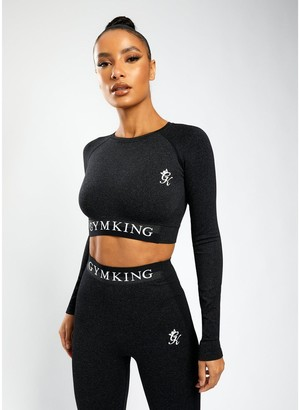 Gym King Sport Results Long Sleeve Crop Tee - Black
