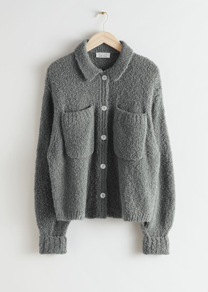 And other stories Collared Relaxed Boucle Knit Cardigan