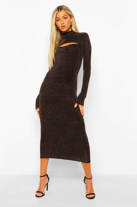 boohoo Tall Glitter Cut Out High Neck Bodycon Midi Dress