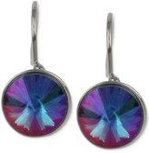 Betsey Johnson Hematite-Tone Iridescent Stone Drop Earrings