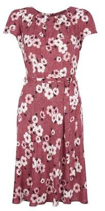 Dorothy Perkins Womens **Billie & Blossom Mulberry Floral And Spot Print Fit And Flare Dress