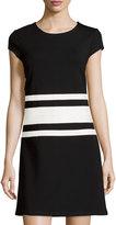 Julie Brown Allora Cap-Sleeve Racer Stripe Dress, Black/White