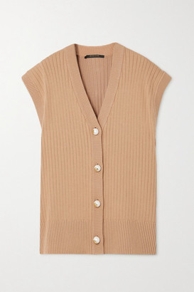Mother of Pearl Net Sustain Casey Ribbed Organic Cotton And Wool-blend Cardigan - Camel