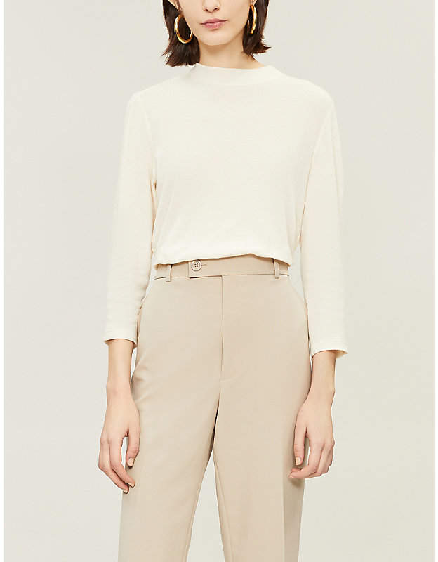 Theory Women's Cream High-Neck Cotton and Cashmere Blend Top