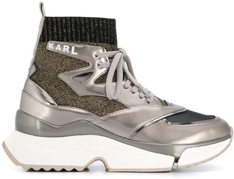 Karl Lagerfeld Paris metallized pull-on sneakers