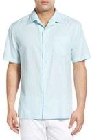 Tommy Bahama 'Checks & Caicos' Original Fit Cotton & Silk Camp Shirt