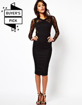 Asos Bodycon Dress With Lace Inserts