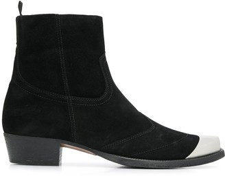 Represent metal toe ankle boots