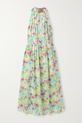 Les Rêveries Pleated Floral-print Silk-satin Halterneck Midi Dress