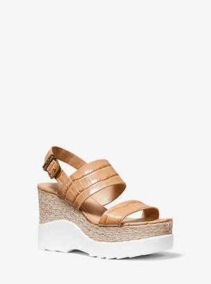 Michael Kors Rhett Crocodile-Embossed Leather Wedge Sandal