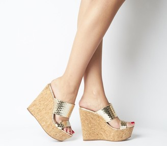 Office Humidity Glam Cork Wedge Heels Gold Scale Leather