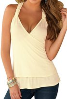 PinupArt Women's Lace Back Wrap Halter Top XLarge