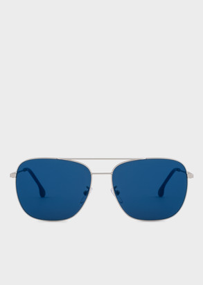 Paul Smith Matte Silver And Deep Navy 'Avery' Sunglasses