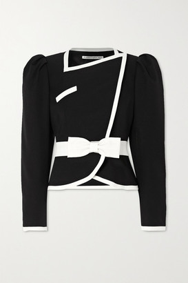 Alessandra Rich Double-breasted Belted Two-tone Wool Jacket - Black