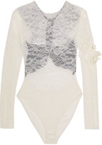 Preen by Thornton Bregazzi Varlese Appliquéd Lace And Stretch-crepe Bodysuit - Ivory