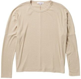Socialite Crew Neck Dolman Sleeve Ribbed Sweatshirt