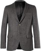 Officine Generale Grey Slim-Fit Herringbone Cashmere Blazer