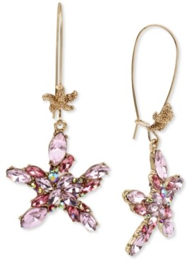 Betsey Johnson Gold-Tone Crystal Cluster Starfish Linear Drop Earrings