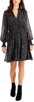 Taylor Petite Tie-Neck A-Line Dress
