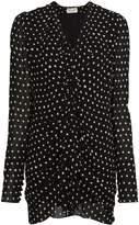 Saint Laurent Silk Ruffle Polka Dot Mini-Dress