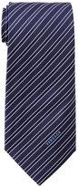 Versace Navy Striped Textured Silk Tie