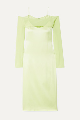 Cushnie Cold-shoulder Silk-blend Chiffon-trimmed Satin-crepe Midi Dress - Chartreuse