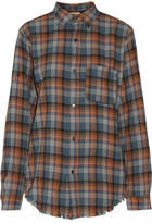 Current/Elliott The Prep School Fringed Plaid Cotton-Flannel Shirt