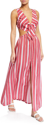 Letarte Chile Striped Tie-Back Maxi Dress