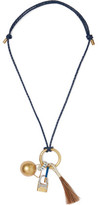 Tory Burch Gold-Tone Braided Leather Charm Necklace