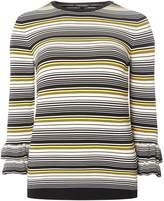 Dorothy Perkins Yellow Striped Frill Sleeve Jumper