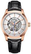 Rotary Rose Gold 'skeleton' Black Leather Watch Gs05036/06