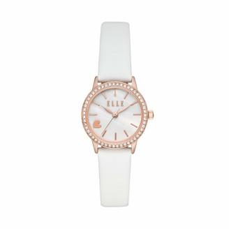 Elle Alma Three-Hand White Leather Watch