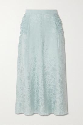 ALEXACHUNG Smocked Satin-jacquard Midi Skirt - Sky blue