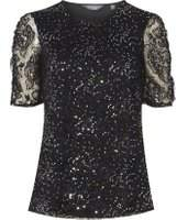 Dorothy Perkins Womens **Tall Black Sequin Embellished T-Shirt