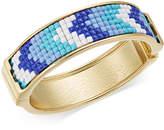 INC International Concepts Gold-Tone Blue & White Stone Hinged Bangle Bracelet, Created for Macy's