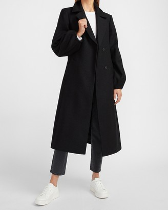 Express Double Breasted Belted Premium Wool-Blend Coat