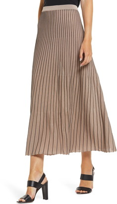 Ming Wang Two-Tone Pleated Knit Skirt