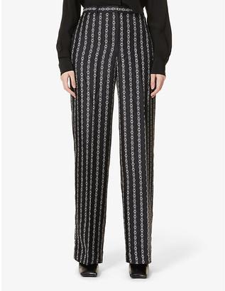 Theory Chain-print wide-leg mid-rise silk trousers