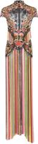 Marchesa Floral Threadwork And Fringe Column Gown